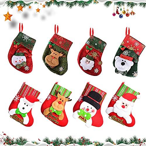 YISKY Calcetín de Navidad,8 pcs Medias de Navidad Bolsa de Regalo, para Bolsa de Regalo de Saco de Navidad para la decoración del árbol Calcetín de decoración navideña para llenar y Colgar (A)