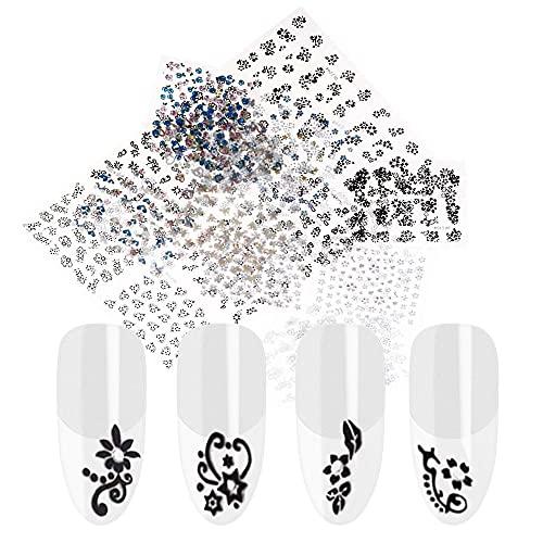 Anself 30 Blatt Nagel Kunst Sticker 3D verschidenen Farben Blumenmuster Nail Art Sticker AufkleberAbziehbilder Manicure Schöne Mode Accessoires Dekoration schwarz + weiß+Bunte
