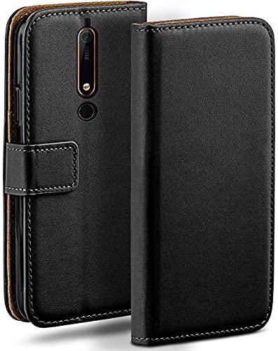 moex Klapphülle für Nokia 6.1 Hülle klappbar, Handyhülle mit Kartenfach, 360 Grad Schutzhülle zum klappen, Flip Hülle Book Cover, Vegan Leder Handytasche, Schwarz
