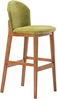 Barstool Kitchen Breakfast Chair Dining Chair Wooden Retro Style Bar Stool High Stool Front Desk Chair Sitting Height 75cm Green (Color : #1)