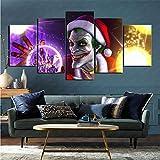 mmkow Cuadro en Lienzo 5 Piezas Set Comic Clown Imagen Foto Hogar Dormitorio Decoración del hogar 100x200cm (Marco)