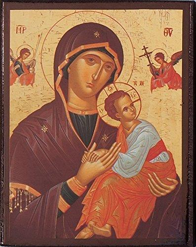 Icon de Nuestra Señora. Icon De The Madonna y niño. The Virgin María. Wood Icon Hecho en Grecia. 9cms x 6cms