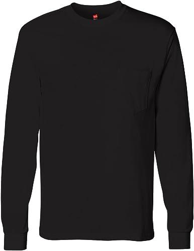 T-shirt ¨¤ hommeches longues TAGLESS pour homme avec Pocket_noir_3XL