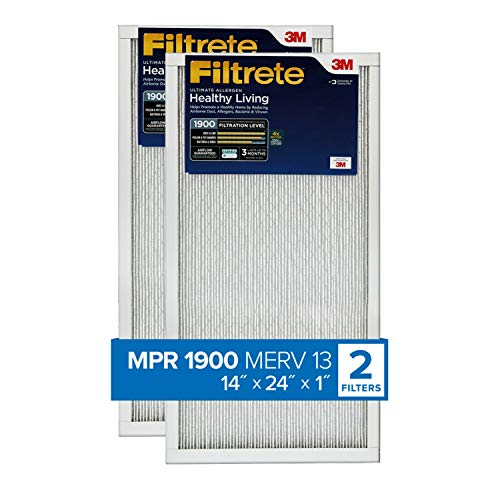 Filtrete 14x24x1, AC Furnace Air Filter, MPR 1900, Healthy Living Ultimate Allergen, 2-Pack (exact dimensions 13.81 x 23.81 x 0.78)