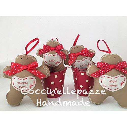 Addobbi Natalizi Handmade.Famigliola Di 4 Gingerbread Personalizzati Omino Biscotto Addobbo Per Albero Di Natale Decorazione Natalizia Decorazioni Natalizie Addobbi Decoro Natale Palline Amazon It Handmade