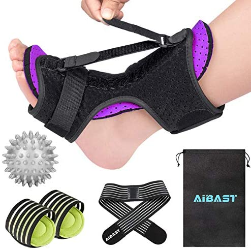 2020 New Upgraded Purple Night Splint for Plantar Fascitis AiBast Adjustable Ankle Brace Foot product image