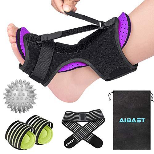 2021 New Upgraded Purple Night Splint for Plantar Fascitis, AiBast Adjustable Ankle Brace Foot Drop Orthotic Brace for Plantar Fasciitis, Arch Foot Pain, Achilles Tendonitis Support for Women, Men