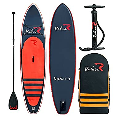 ROKIA Inflatable Stand Up Paddleboard 11' (6  Thick) Premium SUP for All Skill Levels, Orange
