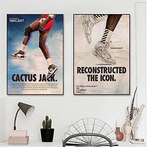 beyond6688 2 Piezas 40x60cm Sin Marco Travis Scott Colaboración Zapatillas de Deporte Lienzos Carteles e Impresiones Imagen de Arte de Pared para Sala de Estar Decoración del hogar Cuadros Sin Marco