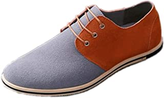 Oxfords for Men Work Shoes Lace up Business Casual Suede Upper Flat Round Toe Two Tones Anti-slip Lightweight Thin Low Top` Ameyso (Color : Gray, Size : 50 EU)