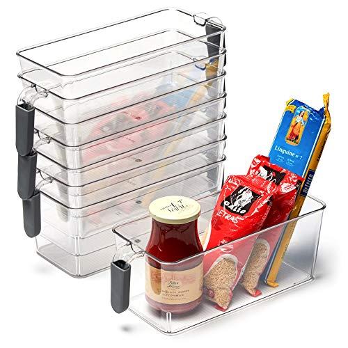 EZOWare Organizador Frigorifico y Cocina, 8 Pcs Cajas de Almacenaje con Asa para uso Frigorifico, Nevera, Despensa, Armario, Estantes, Baño - Transparente y Gris, Pequeño