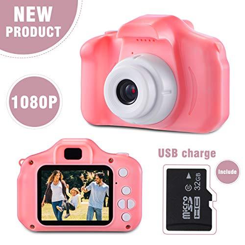 LIUMY Cámara Juego para Niños, Recargable Digital Niños Cámara Selfie ,Video cámara Infantil con 1080P HD de 2 Pulgadas & 32GB Tarjeta SD, Niña Cumpleaños(Rosa pálido)
