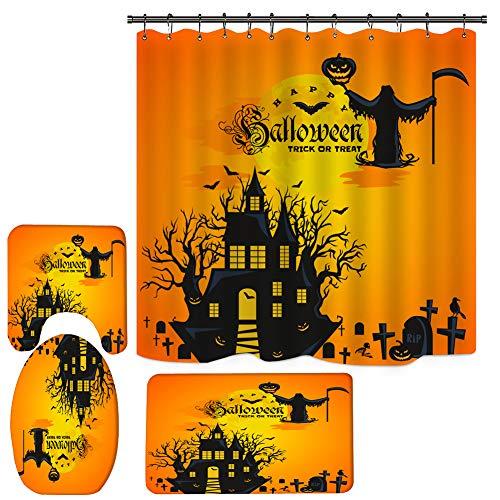 Gruseliges Halloween-Duschvorhang-Set, Hexe Badezimmer Duschvorhang-Sets mit Teppichen, 4 Stück Halloween Weihnachten Duschvorhang mit 12 Haken (180 x 180 cm)