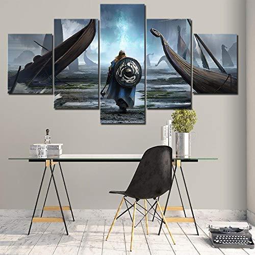 BAIOKAISHUII Leinwand Malerei Wandkunst Modulare Bilder 5 Stück/Stück Wikinger Film HD Druck Poster Home Decorative Modern Living Room-Rahmenlos