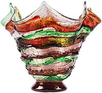 YourMurano Jarrón de cristal hecho a mano en tonos verdes y bronce - Laguna