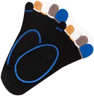 WT-YOGUET, Calcetines de algodón de corte bajo para hombre, coloridos, 5 dedos de malla que absorbe sin mostrar medias de barco