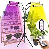 KARTPIX Grow Light with Stand, 300W 420LEDs Full Spectrum Plant Grow Lights for Indoor Plants, 3 Switch Modes 9 Dimmable Levels, Adjustable Tripod Stand & Gooseneck, Auto On/Off Timer