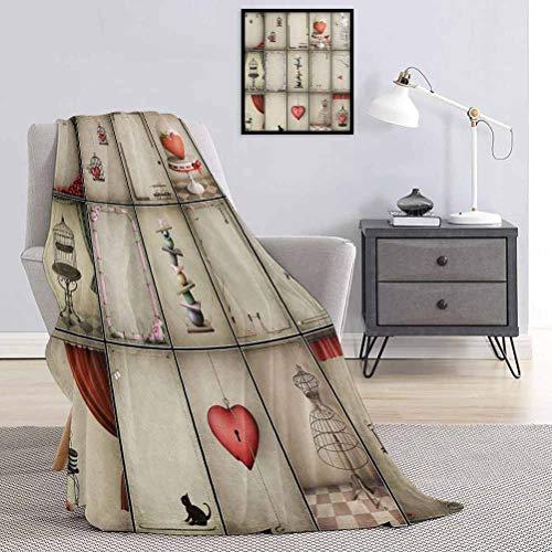 Toopeek - Manta de calidad comercial con diseño de corazones inspirados en el día de San Valentín en cautividad, vestidos retro y gato reina King W70 x L90 pulgadas, color rojo bermellón