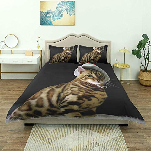 Rorun Funda nórdica, Animal con Estampado de Leopardo de Gato con Sombrero de Pescador Medio Sentado sobre...