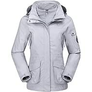 CAMEL CROWN Womens Waterproof Ski Jacket 3-in-1 Windbreaker Winter Coat Fleece Inner for Rain...