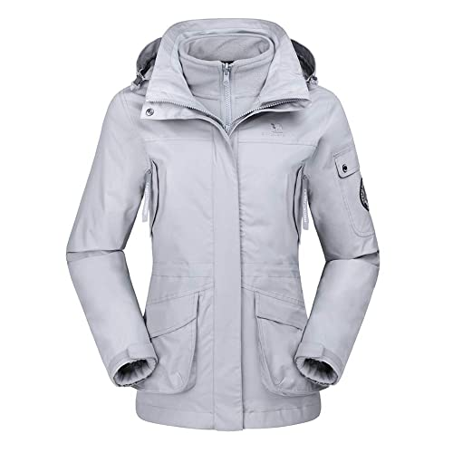 CAMEL CROWN Womens Waterproof Ski Jacket 3-in-1 Windbreaker Winter Coat  Fleece Inner d762f8588