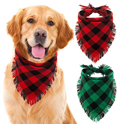 KOOLTAIL Plaid Dog Bandana Christmas 2 Pack - Classic Triangle Scarf Tassels Style Holiday for Dogs Cats Puppy