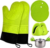 Silicone Non Slip Oven Mitts Set, Heat Resistant Cooking Waterproof BBQ Kitchen with Mini Oven Gloves Hot Pads Potholders with Inner Cotton Layer for Cooking Baking (??)
