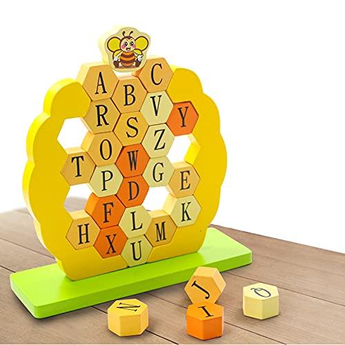 Juegos de Mesa Niños 4 Años Bloques Construccion Niños Juego Torre de Madera Aprendizaje 26 ABC Letras de Madera Alfabeto Montessori Juegos de Mesa en Familia Juguetes Niños 3 4 5 6 7 Años