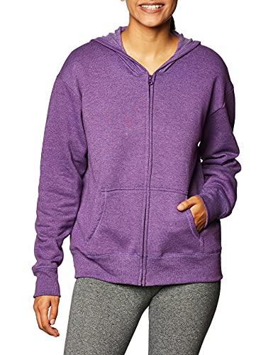 Hanes Women's EcoSmart Full-Zip Hoodie Sweatshirt, Violet Splendor Heather, Medium