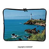 YOLIYANA Pigeon Point Lighthouse in Romantic Shoreline Waves Wildflowers Laptop Sleeve Case Neoprene Carrying Bag for Any Tablet/Notebook 17 inch/17.3 inch