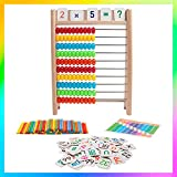 Yenorex Wooden Abacus for Kids Math,10-Row Wooden Frame Abacus with Multi-Color Beads, Counting Sticks, Number Alphabet Cards,Counting Frame Educational Toy for Boys Girls Gift 3 4 5 Year Old