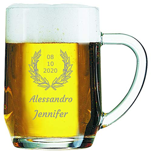 Bicchiere da Birra Personalizzato Boccale da Birra Inciso Personalizzabile con Nomi, Testo, Data, Design e Caratteri Diversi (2 pezzi)