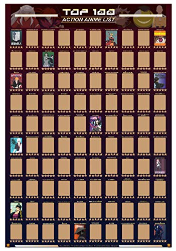 100 Action Anime Scratch Off Poster With Star Rating - 2021 Guildable Bucket List / Watch List (16.5' x 23.4')
