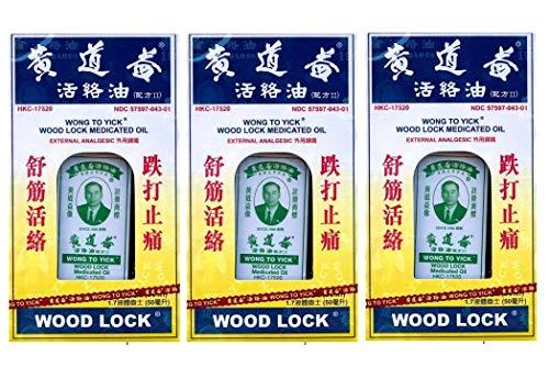 Wong To Yick Wood Lock Medicated Oil External Analgesic - 3 Bottles x 1.7 Fl. Oz (50 ml)