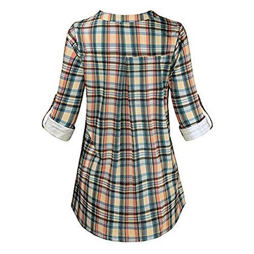 Camisas Mujer Manga Larga Cuadros Cuello En V con Cremallera Blusa Mujer Camisa De Manga Larga Ropa Mujer Primavera 2019