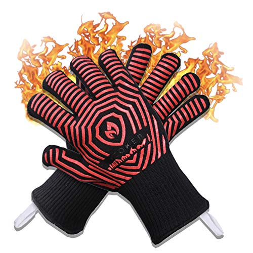 AZOKER BBQ Gloves - 932℉ Extreme Heat Resistant EN407 Certified - Silicone Non-Slip Cooking Gloves-Improved Oven Mitts-Oven Gloves for Cooking, Welding-14 (One Size Fits Most, Black)