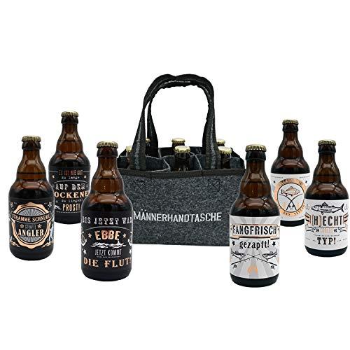 Jack's Männerhandtasche Angler/gefüllt mit 6 Bierflaschen/witzige Sprüche zum Thema Angeln/Herrengeschenk/Partygeschenk/Sixpack/für echte Männer/Fischer