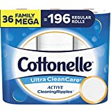 Cottonelle Ultra CleanCare Soft Toilet Paper with Active Cleaning Ripples, 36 Family Mega Rolls