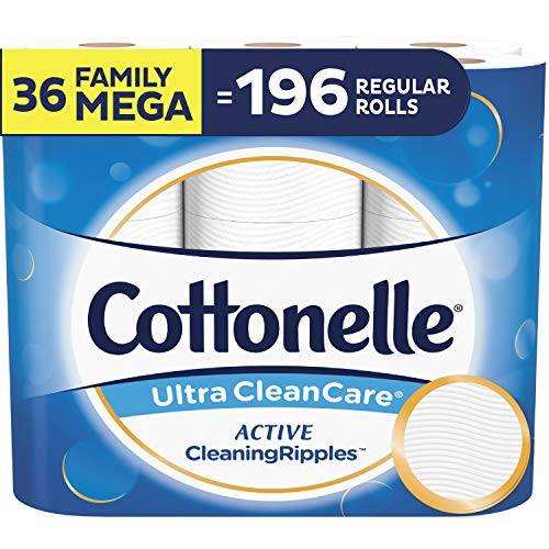 Cottonelle Ultra ComfortCare Soft Toilet Paper with Active Cleaning Ripples, 36 Family Mega Rolls
