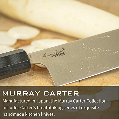 "Spyderco Itamae Funayuki Premium Kitchen Knife with 6.29"" SUS410 Super Blue Stainless Steel Blade and Burl G-10 Handle - PlainEdge - K16GPBNBK"