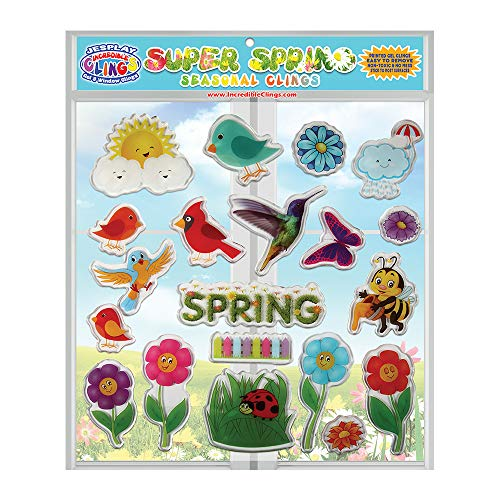 JesPlay Spring Time Seasonal Spring Thick Gel Clings – Incredible Reusable Window Clings for Kids and Adults - Incredible Gel Decals of Seasonal Birds, Bees, Flowers, Grass, Butterflies, Rain