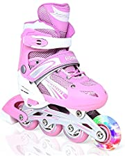 Comfortable Adjustable Skating Shoes LED Light Up Wheel, Converts from Tri-Wheel to Inline Skates, Outdoor and Indoor Roller skates for Beginners, Skating shoe for kids and Teen