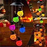 JOBOSI Pumpkin Wind Chime, Solar Wind Chime, Interesting Gifts, Halloween Decoration, Pumpkin Decorative Lights Color Changing Solar Powered Pumpkin Decor