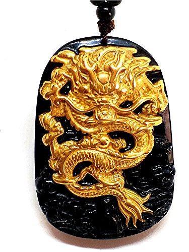 Drachen-Anhänger, Drachen aus 18K 999purem Geldgold, natürlicher Obsidian, schwarze Jade