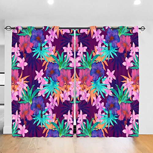 Heidi Tropical Floral Purple Blackout Curtains Thermal Insulated Grommet Curtains 2 Panels 52 x 72 in One Size Punch