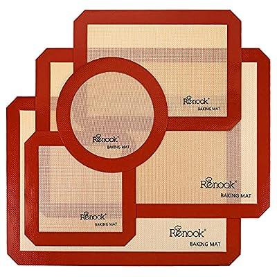 RENOOK Silicone Baking Mats Set of 5-2 Half Sheets Mats + 1 Quarter Sheet Liner + 1 Round & 1 Square Cake Pan Mat - 100% Non-Stick Reusable Food Safe Liners & Silicone Brush- Macaron, Pastry, Cookie