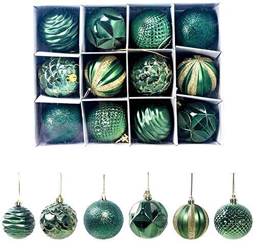 FENG Christbaumkugeln,12 Stücke 6CM Plastik Christbaumkugeln, Weihnachtskugeln mit Aufhänger,Weihnachtsbaum Hängende für Weihnachten Dekoration (Grün)