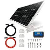 TP-solar 100W 12V Solar Panel Kit Battery Charger 100 Watt 12 Volt Off Grid System for Homes RV Boat + 20A Solar Charge Controller + Solar Cables + Brackets for Mounting