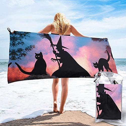 FLDONG Toalla de secado rápido con impresión de Halloween, toalla de microfibra, ultra suave, compacta, adecuada para camping, gimnasio, playa, hogar, 81.5 x 163 cm