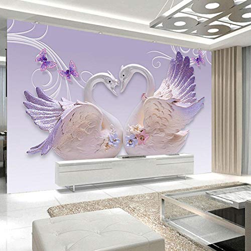 3D Photo Wall Papers, Home Decor Europese Zwanen Sieraden Muurbehang, 3D Slaapkamer Modern Abstract 280 cm (B) x 180 cm (H)